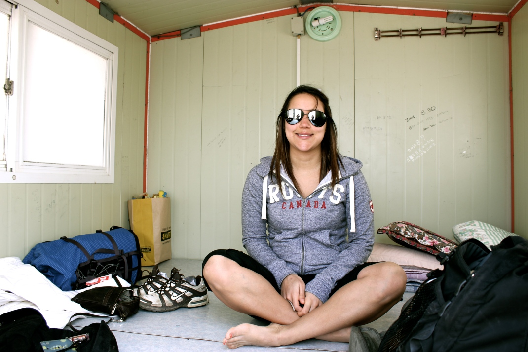 Ashlyn inside hut